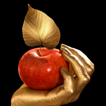 Apple in Gold Hand
